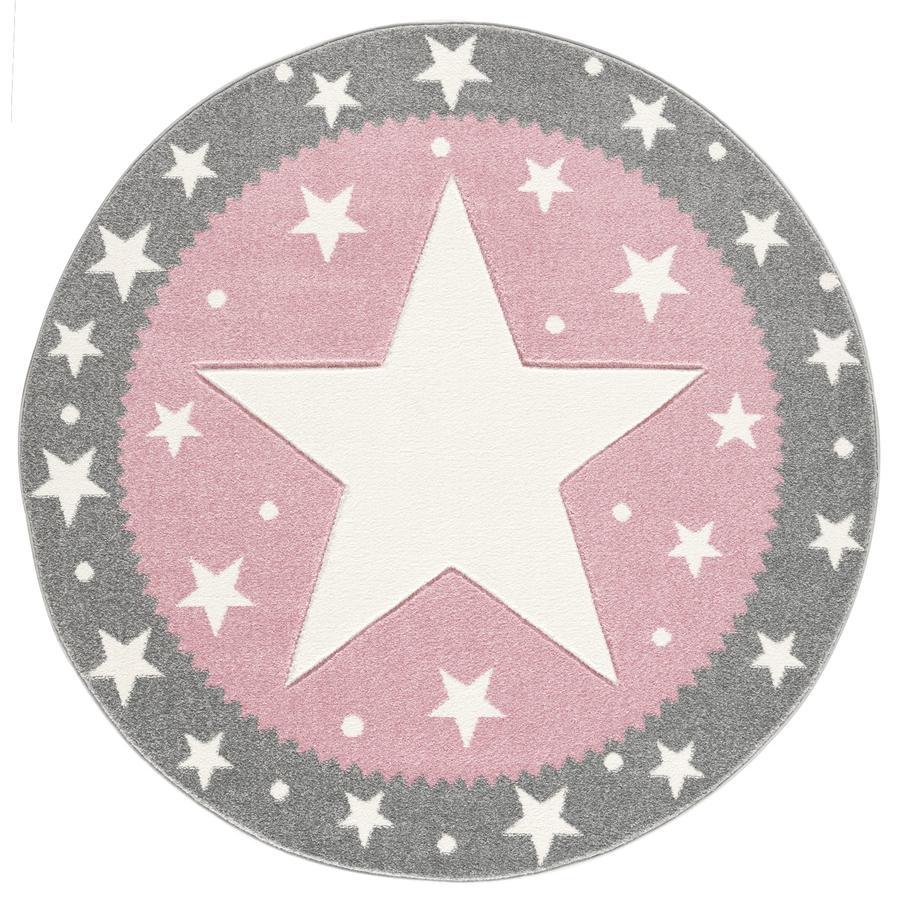 LIVONE kindertapijt Kinderen houden van tapijten FANCY zilvergrijs/roze 100cm rond