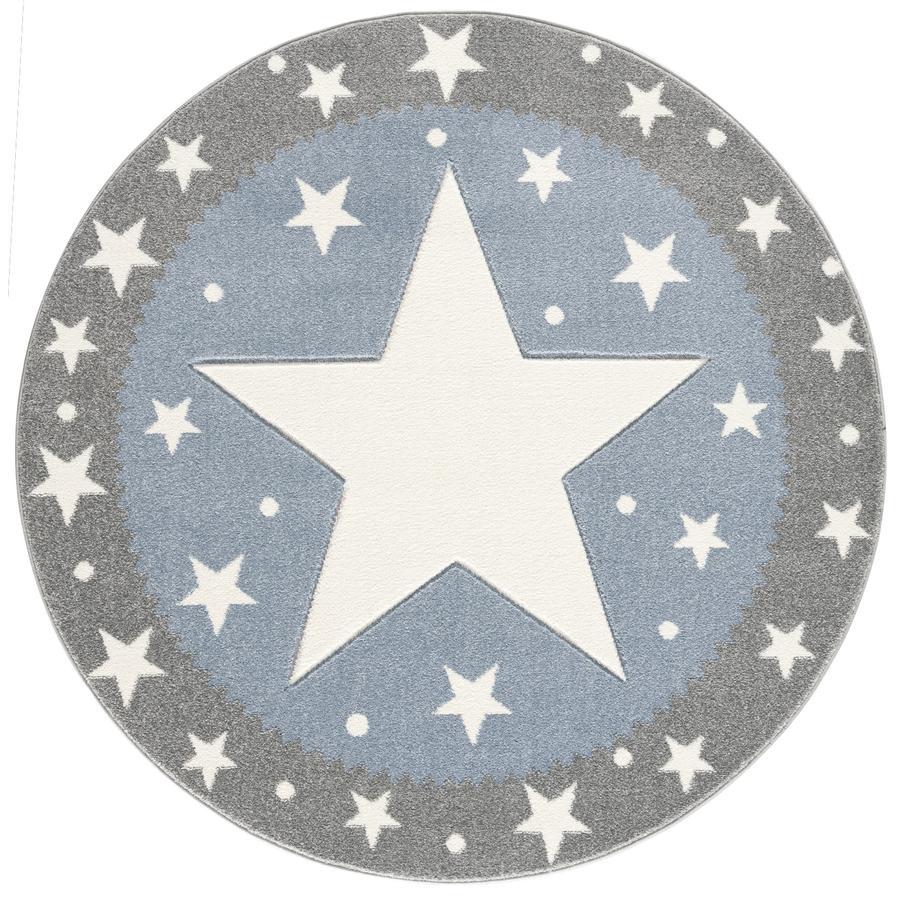 LIVONE kinderdeken Kinderen houden van tapijten FANCY zilvergrijs/blauw 100cm rond