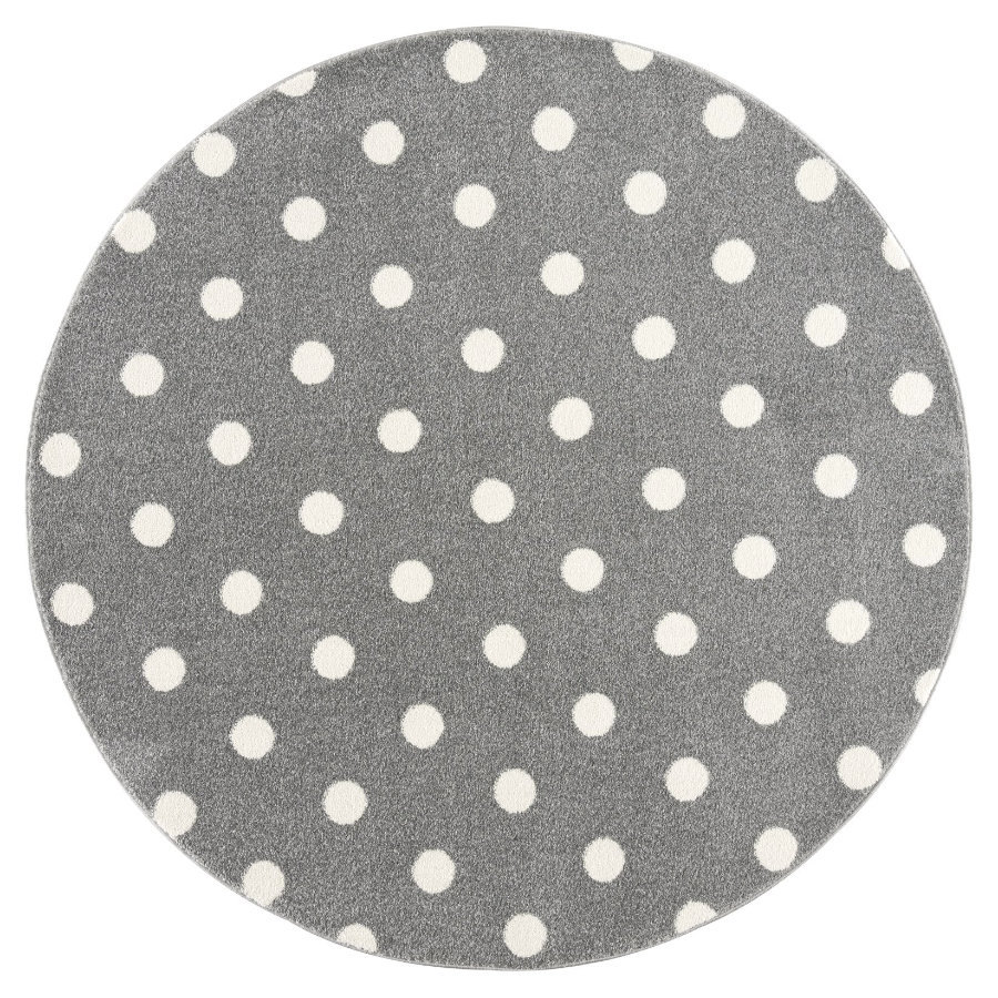 LIVONE dětský koberec Kids love Rugs CIRCLE stříbrná šedá / bílá 100 cm kulatá