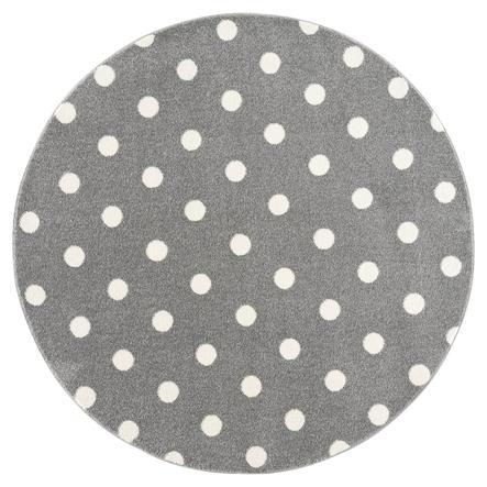 LIVONE barnmatta Barn älskar mattor CIRKEL silvergrå / vit 160 cm rund