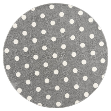 LIVONE kinderdeken Kinderen zijn dol op tapijten CIRCLE zilvergrijs / wit 160 cm rond