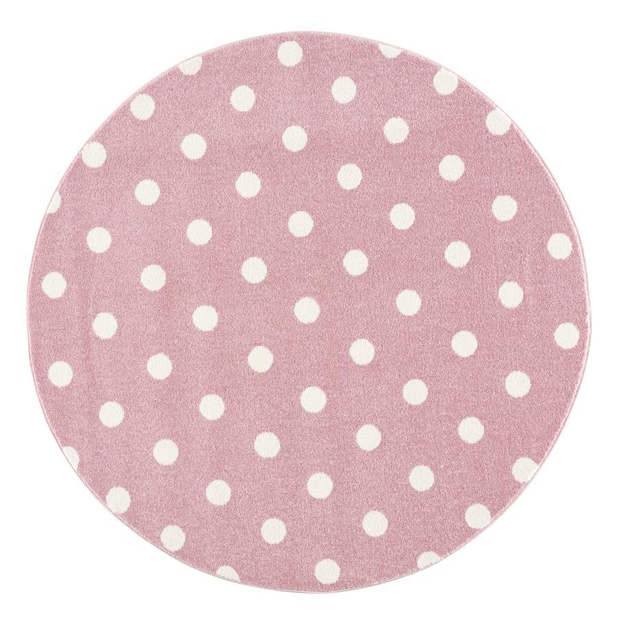 LIVONE Tapis enfant Kids love Rugs CIRCLE rond rose/blanc 160 cm