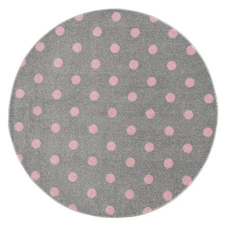 LIVONE barnmatta Barn älskar mattor CIRKEL silvergrå / rosa 160 cm rund