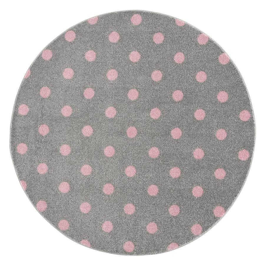 LIVONE lastenmatto Lapset rakastavat mattoja CIRCLE hopeanharmaa / vaaleanpunainen 160 cm pyöreä