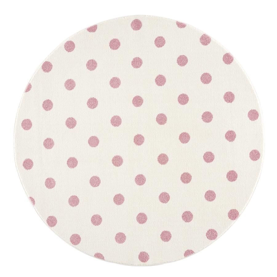 LIVONE barneteppe Barn elsker Rugs CIRCLE krem ??/ rosa 100 cm rund