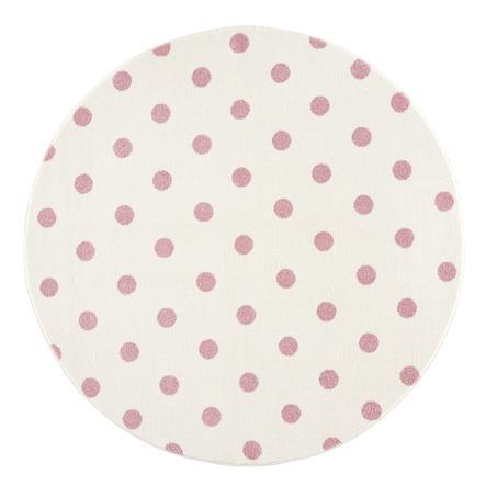 LIVONE barnmatta Barn älskar mattor CIRCLE grädde / rosa 160 cm rund