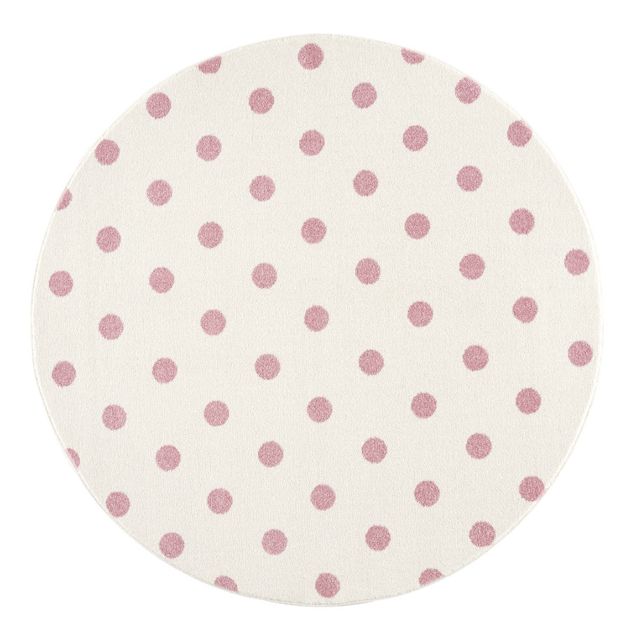 LIVONE kinderdeken Kinderen houden van Tapijten CIRCLE crème/roze 160 cm rond