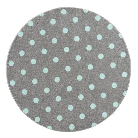 LIVONE barneteppe Barn elsker Rugs CIRCLE sølvgrå / mynte 100 cm rund