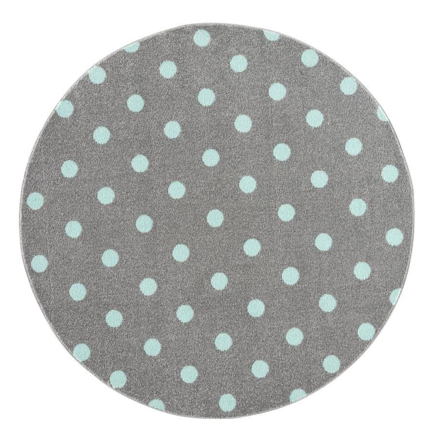 LIVONE lastenmatto Lapset rakastavat mattoja CIRCLE hopeanharmaa / minttu 160 cm pyöreä