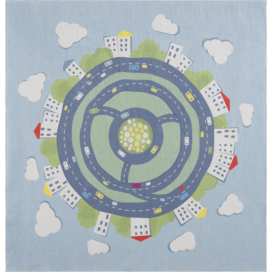 Tapis pour enfants LIVONE Happy Rugs KIDS EARTH bleu 120 x 120