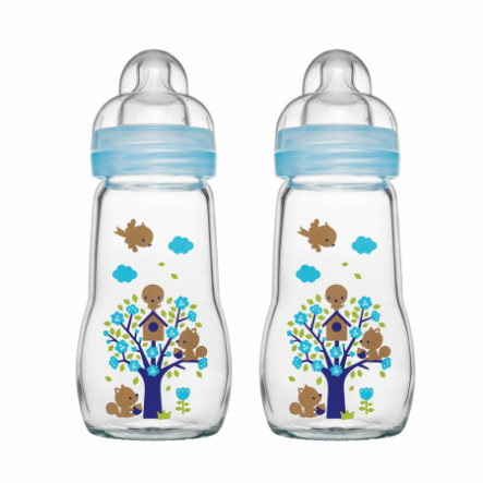 MAM Bottiglia di vetro Feel Good blue 260 ml 0+ mesi