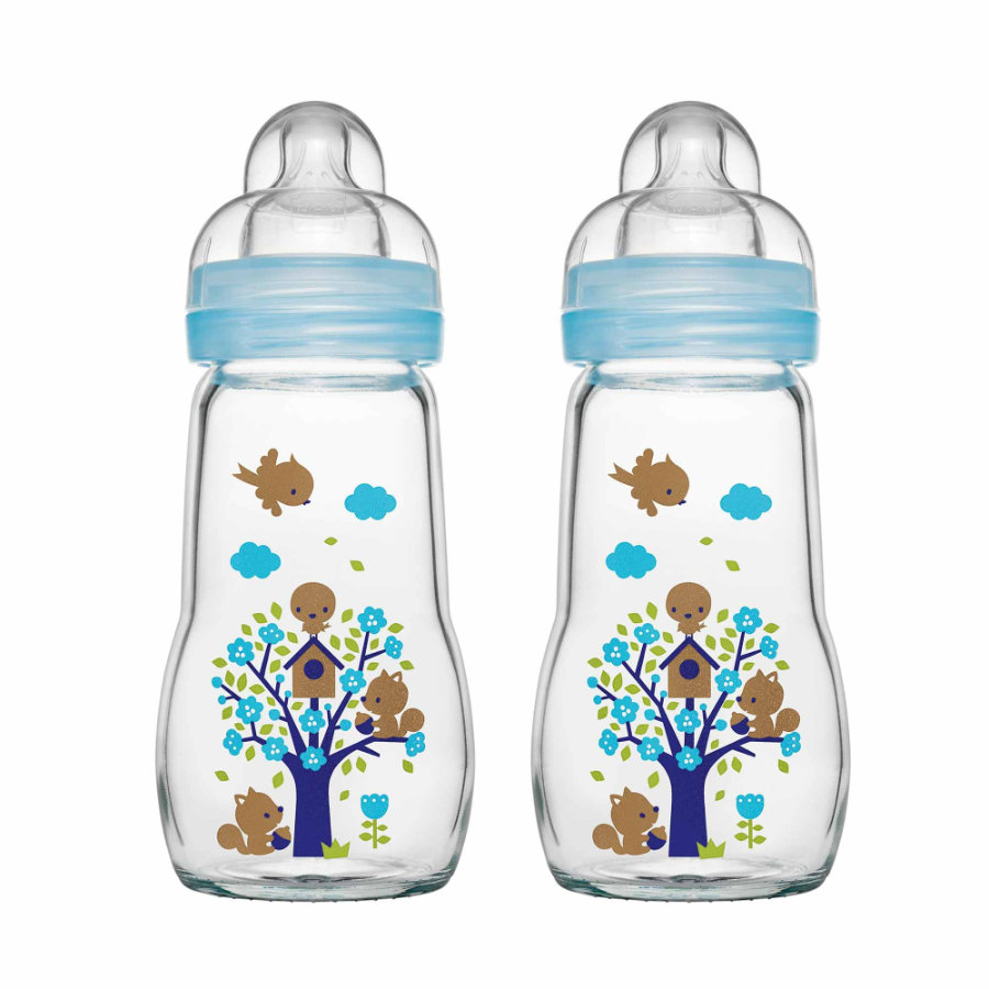 MAM Glasflasche Feel Good blau 260 ml 0+ Monate in Doppelpack