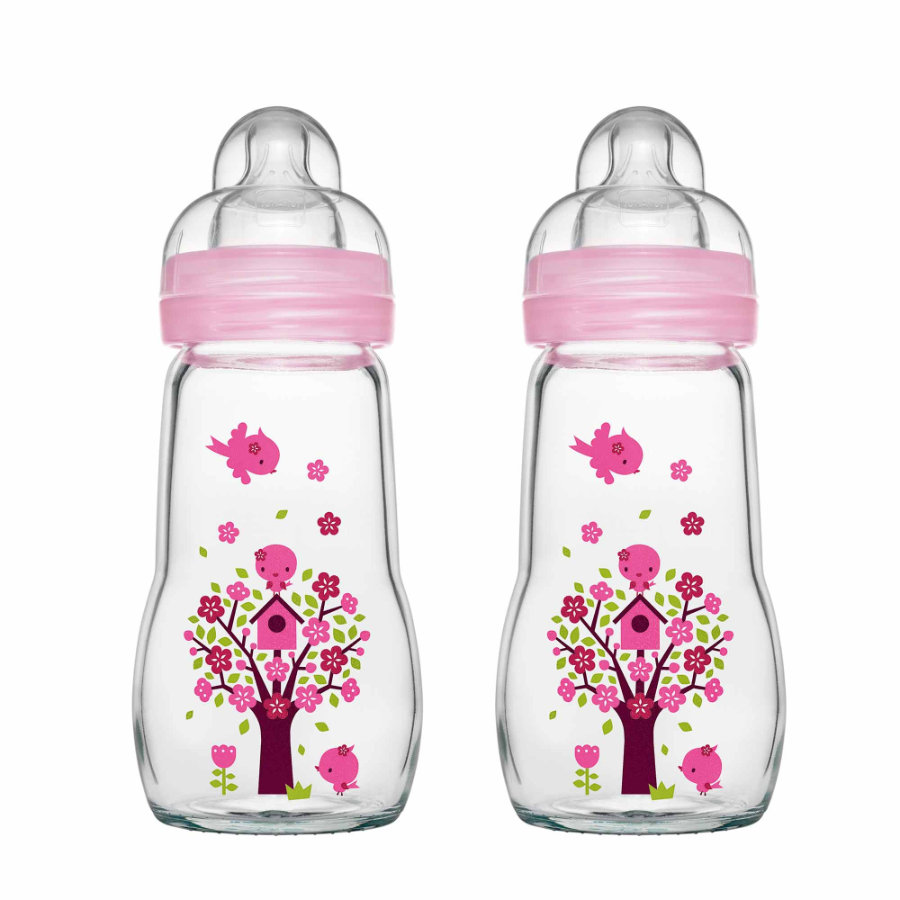 MAM Glasflasche Feel Good rosa 260 ml 0+ Monate in Doppelpack