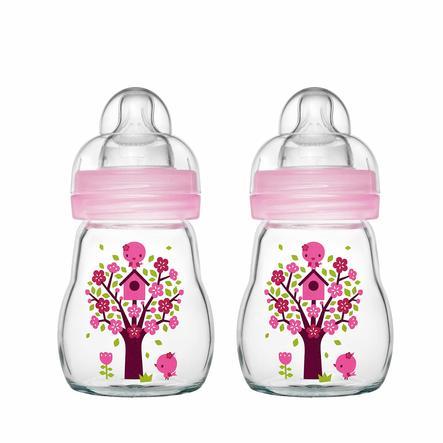 MAM Glazen fles Feel Good roze 170 ml 0+ maanden