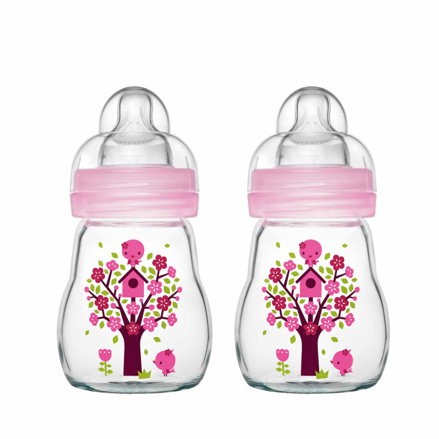 MAM Glasflasche Feel Good rosa 170 ml 0+ Monate in Doppelpack
