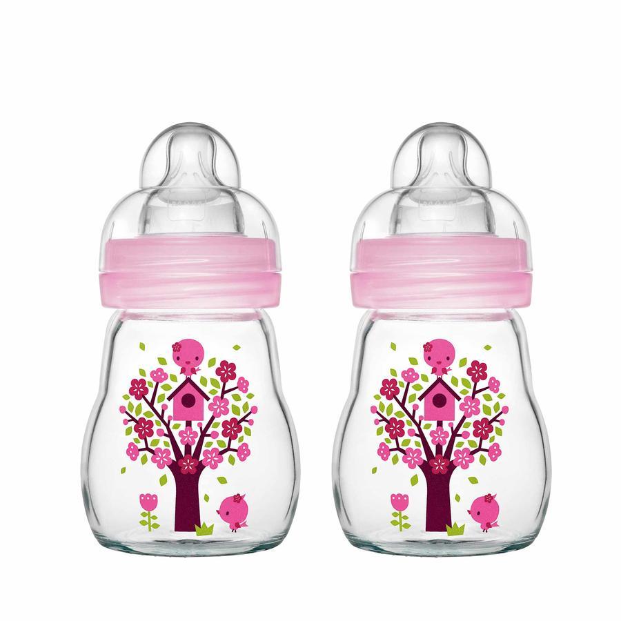 MAM Szklana butelka Dobre samopoczucie różowy 170 ml 0+ miesięcy