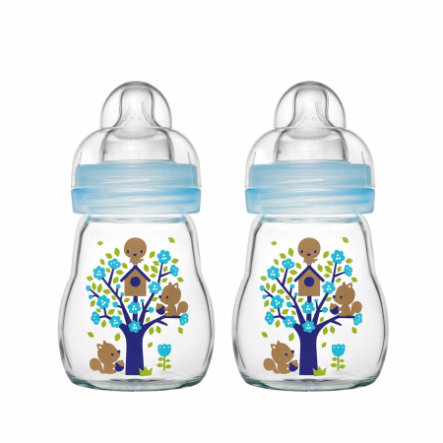 MAM Botella de vidrio Feel Good azul 170 ml 0+ meses