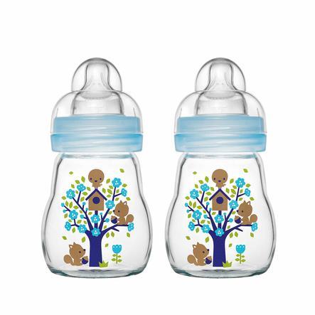 MAM Glazen fles Feel Good blauw 170 ml 0+ maanden