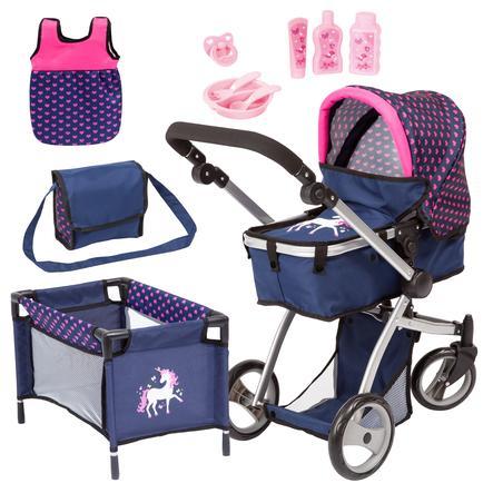 bayer Design Kombinowany wózek dla lalek Mega Set, niebieski z serduszkami i jednorożcem
