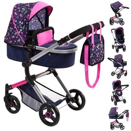 bayer Design Kombi-Puppenwagen Vario herzchen blau/pink mit Herzen und Meerjungfrau