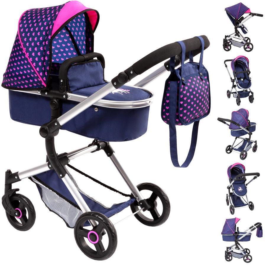 bayer Design Kombi-Puppenwagen Neo Vario Einhorn, blau mit Herzen und Einhorn