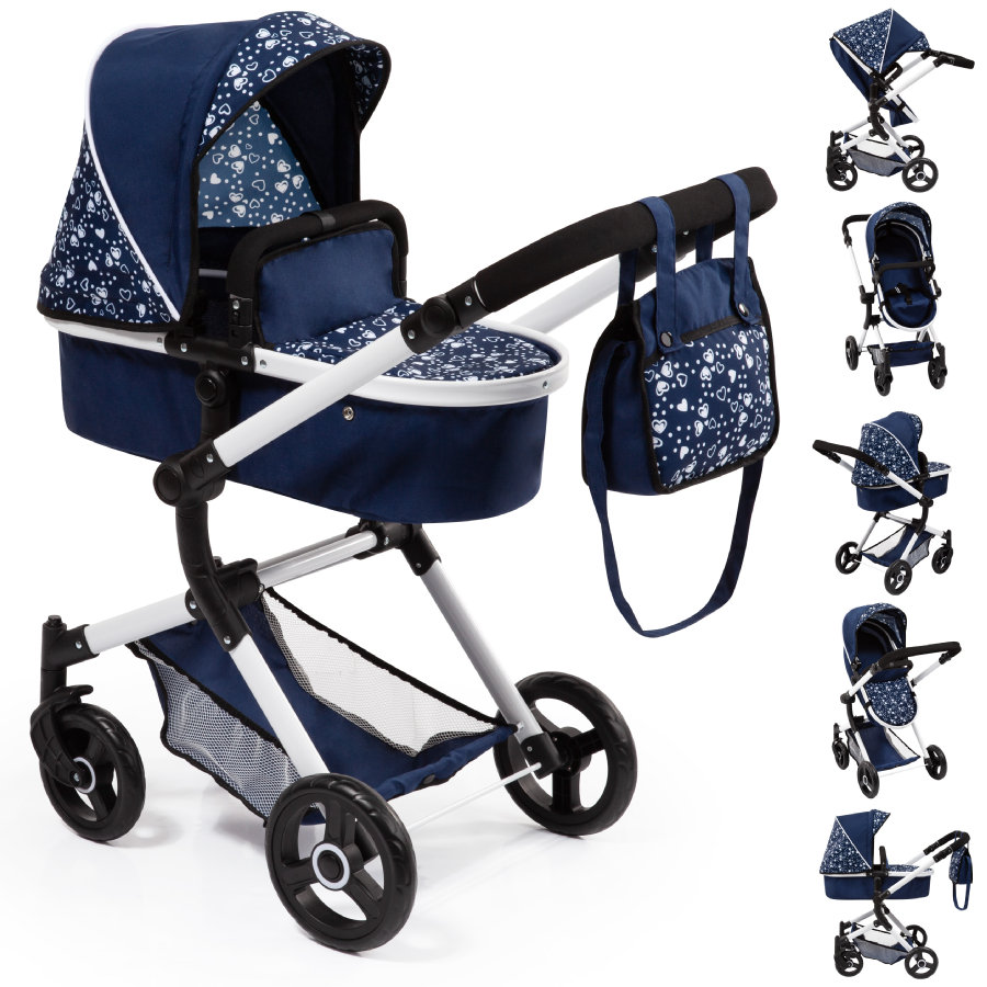 bayer Design Combi poppenwagen Neo Vario blauw met hartjes
