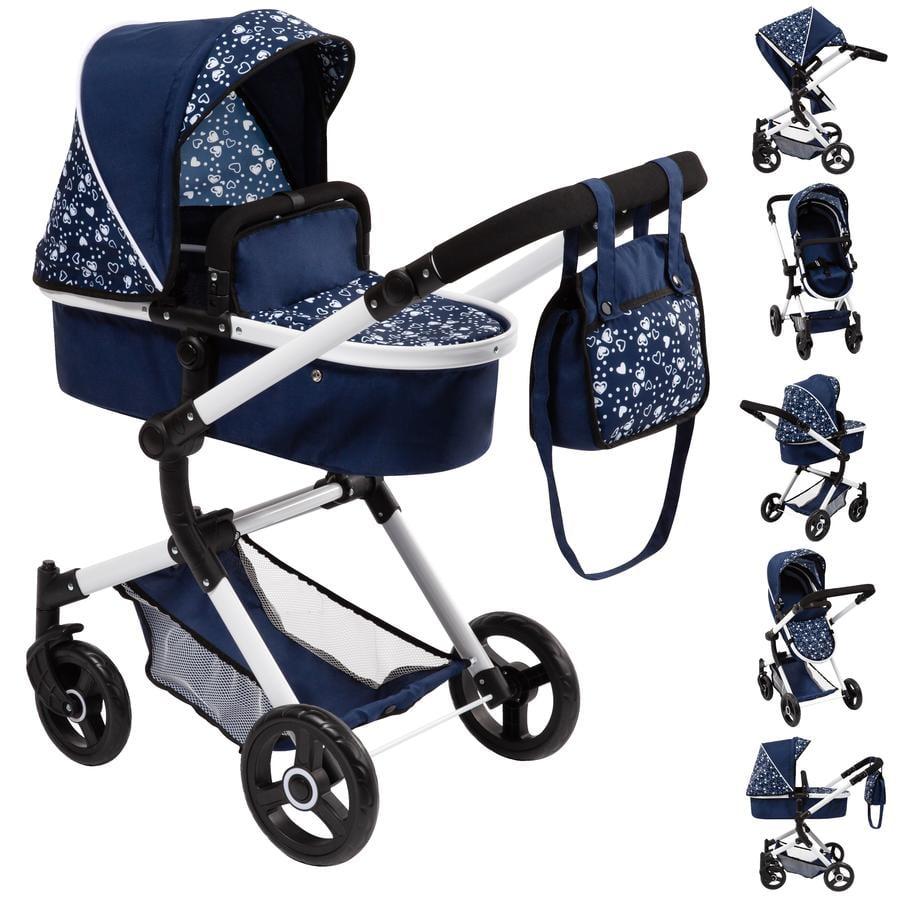 bayer Design Kombi-Puppenwagen Neo Vario blau mit Herzen
