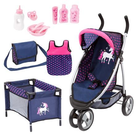 bayer Design Muñeca corredora Mega Set azul/rosa con unicornio