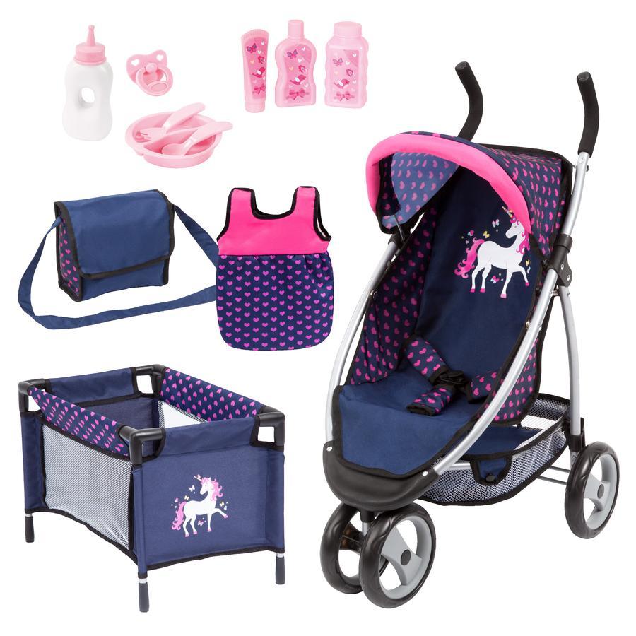 bayer Design Wózek dla lalek Mega niebieski/różowy z jednorożcem