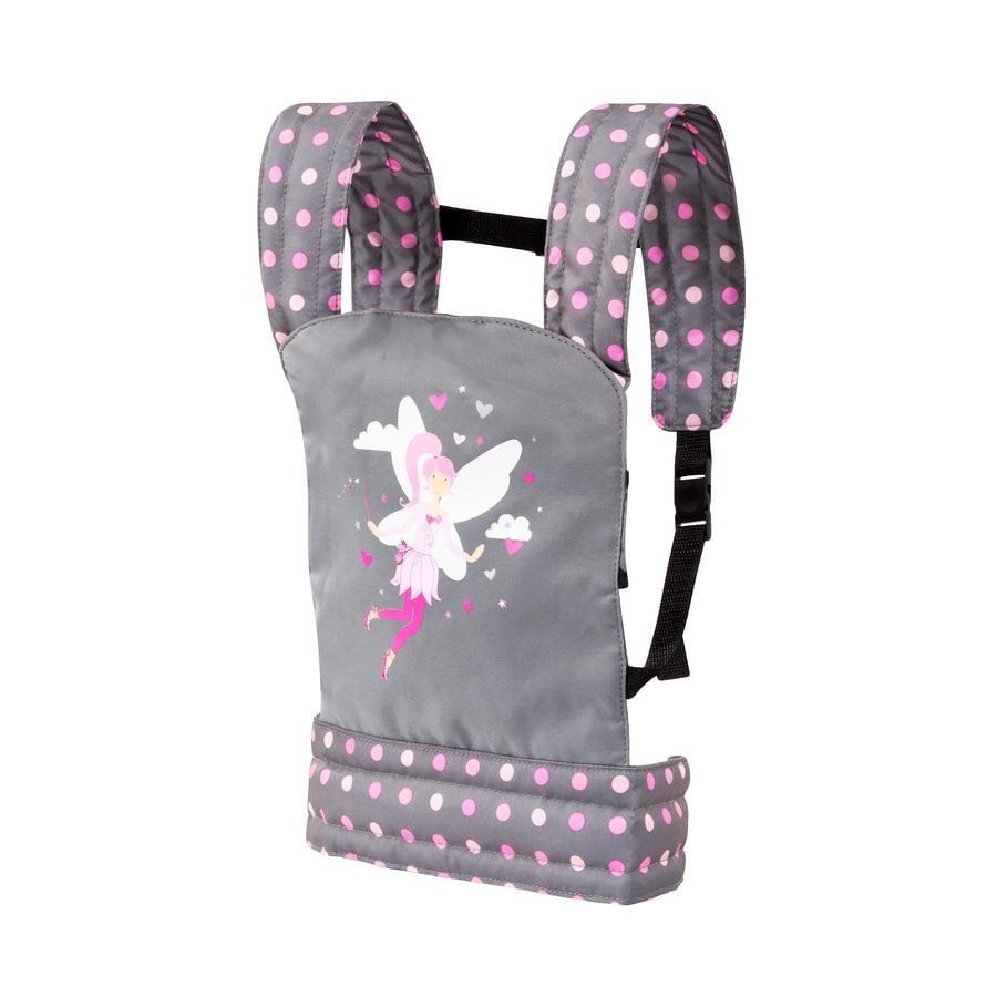 bayer Design Doll bærerem, grå / pink, med prikker og fe