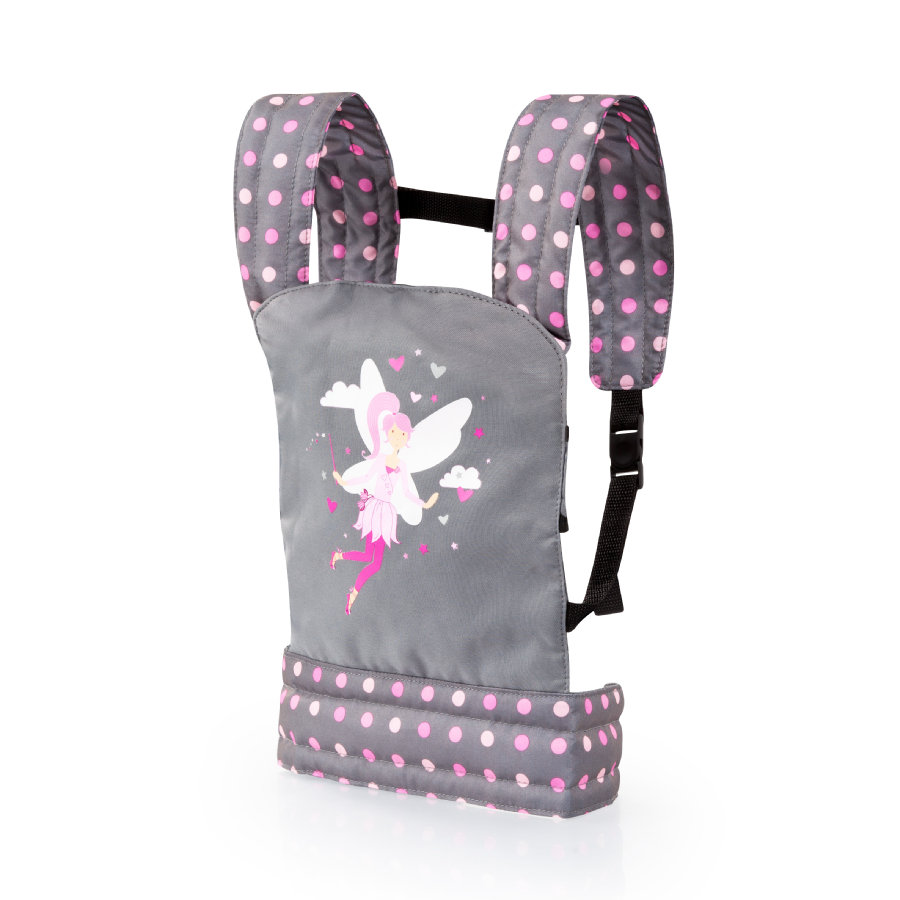 bayer Design Tracolla per bambole, grigio/rosa, con puntini e fata