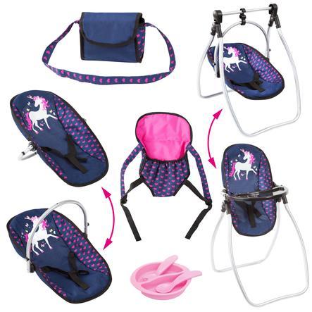 bayer Design Accessoireset met eenhoorn, blauw/roze met eenhoorn