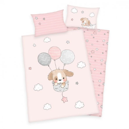 babybest® Flannel beddengoed Sweet Puppy GOTS 100 x 135 cm