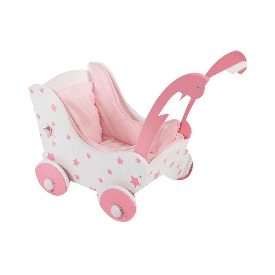 BAYER CHIC 2000 dřevěný kočárek pro panenky Stars růžová