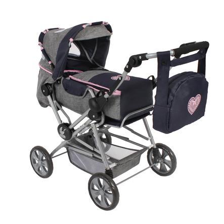 """BAYER CHIC 2000 kombi wózek dla lalek """"ROAD STAR"""" melanżowy szary piwowar"""