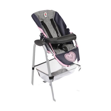 BAYER CHIC 2000 Chaise haute pour poupée mélange gris-marine