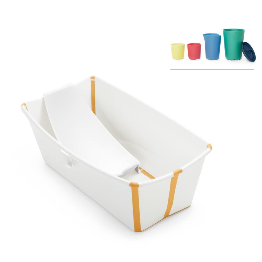 STOKKE® Badewanne Flexi Bath™ gelb inkl. Badewanneneinlage und Gratis Spielbechern