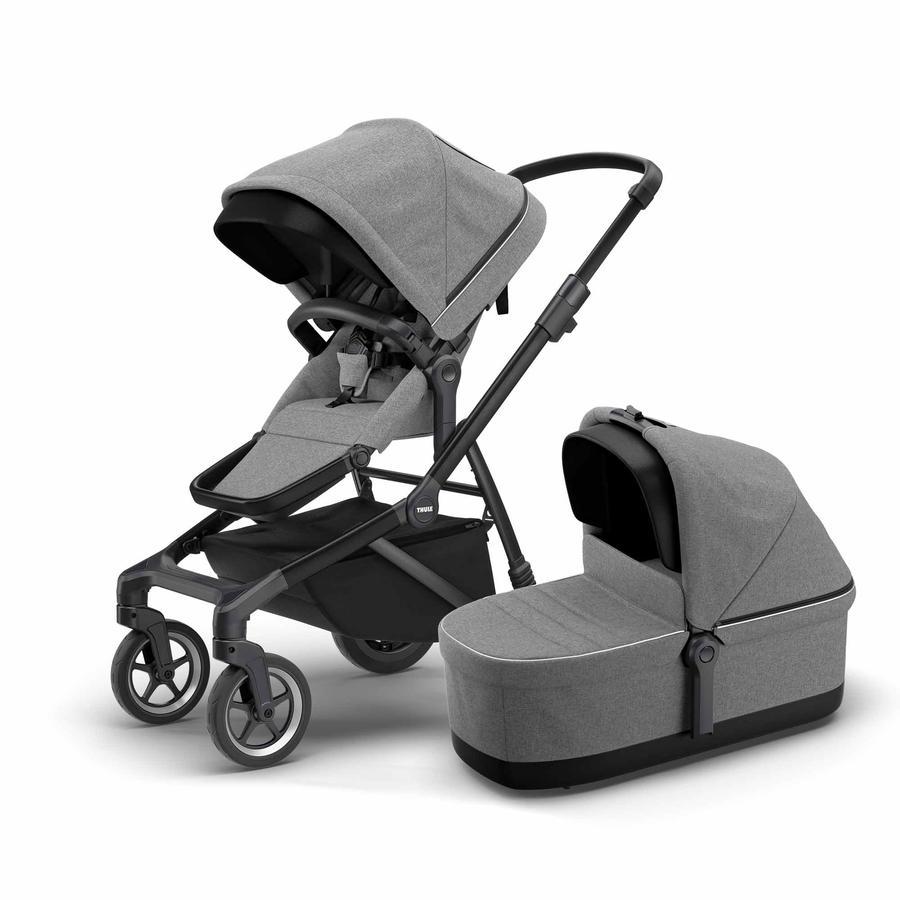 THULE Geschwisterwagen Sleek mit Babywanne Grey Melange on Black