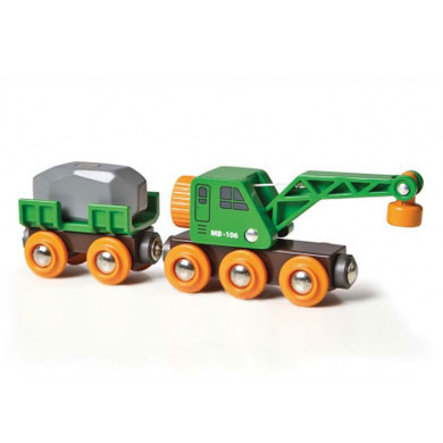 BRIO Kraanwagen met aanhanger en vracht