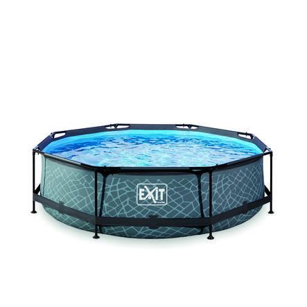 EXIT Stone Pool ø300x76cm med filterpumpe - grå