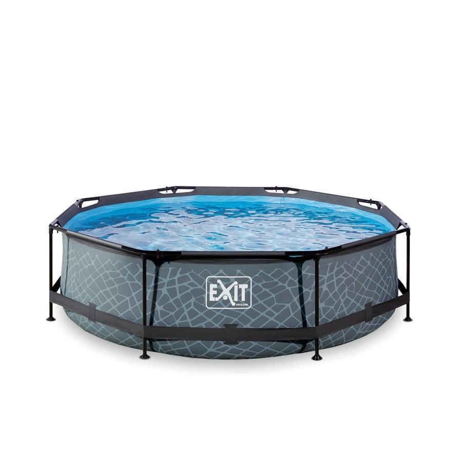 EXIT Stone Pool ø 300 x 76 cm mit Filterpumpe - grau