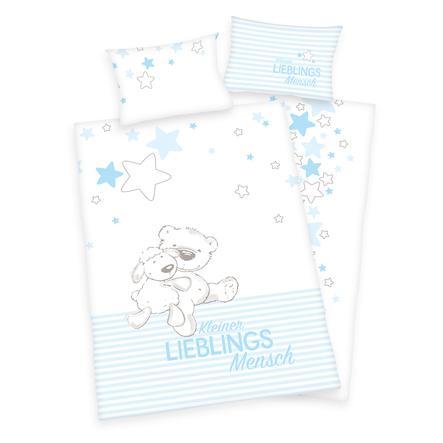 babybest flanelové povlečení Kleiner Lieblingsmensch modrá GOTS 100 x 135 cm