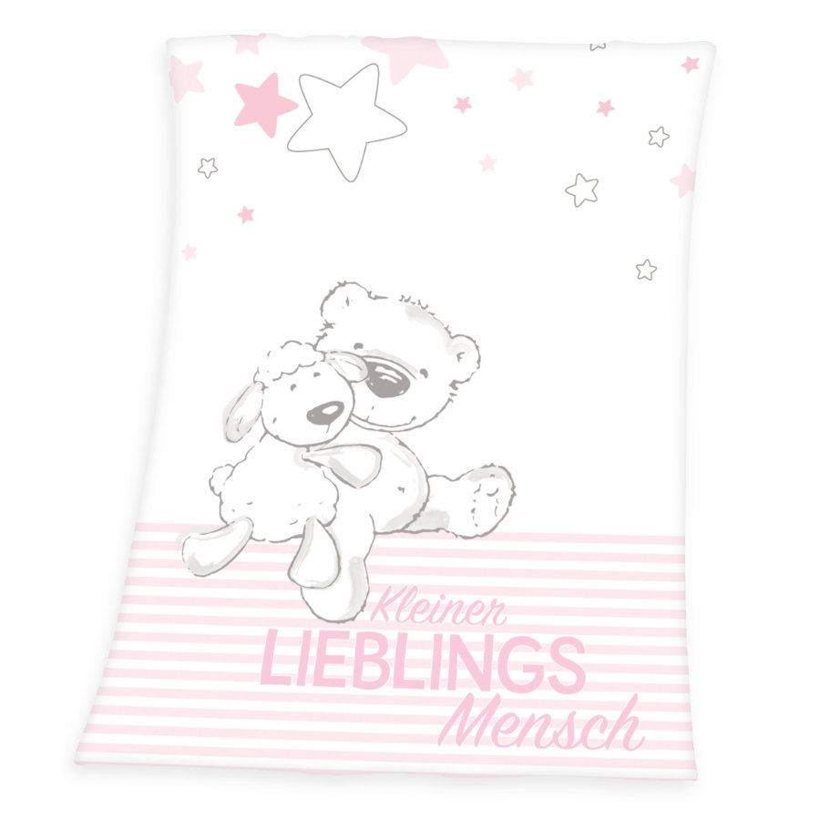 babybest® Plaid enfant ourson mouton microfibre rose 75x100 cm