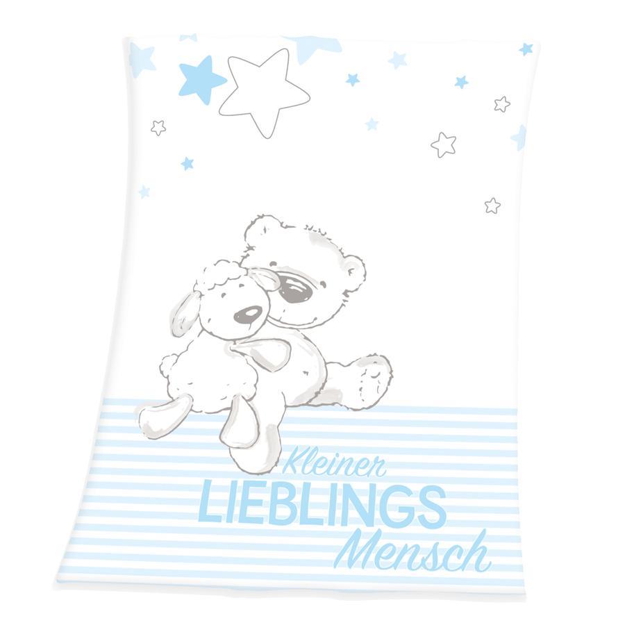 babybest® Polarny koc z mikrofibry Mały ulubiony niebieski