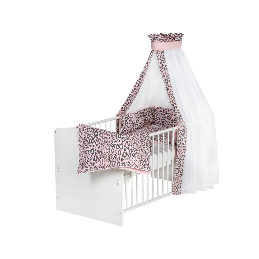 Schardt Lit enfant à barreaux évolutif Classic White Leo Pink  70x140 cm