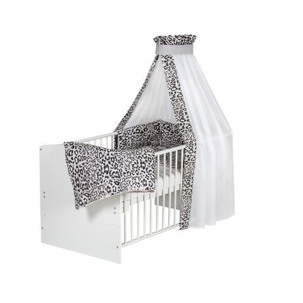 Schardt Lit enfant à barreaux évolutif Classic White Leo Grey 70x140 cm