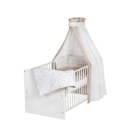 Schardt Lit enfant à barreaux évolutif Classic White Origami Beige 70x140 cm
