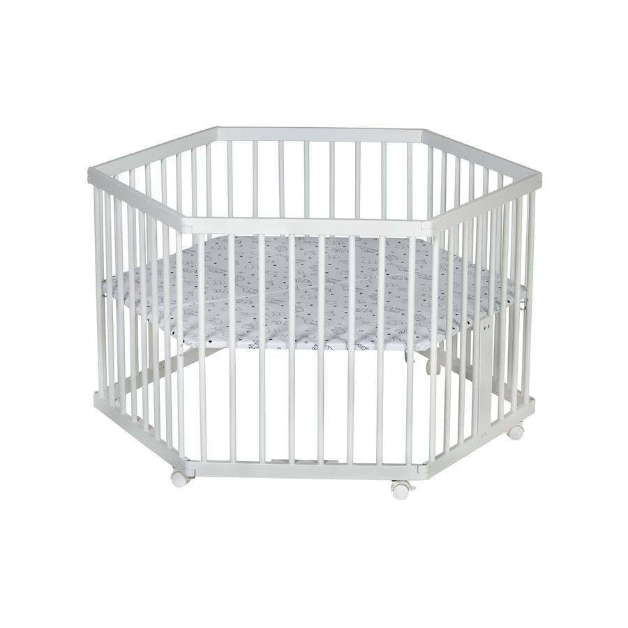 Schardt Parc bébé hexagonal Solitär blanc, 122x106 cm