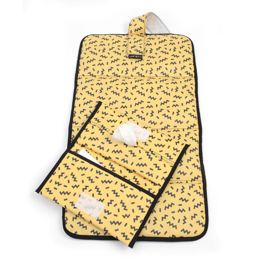KipKep Pochette à langer Memphis Yellow, matelas Napper 63x35 cm