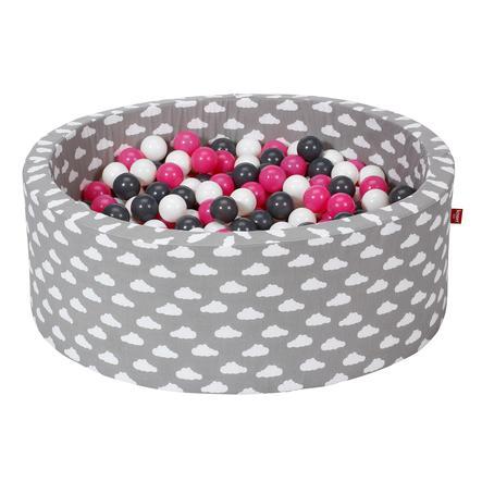 knorr® toys Piscine à balles enfant soft grey white clouds 300 balles crème/gris/rose